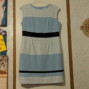 Lace detailing blue dress